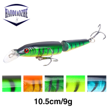 Купить с кэшбэком HAODIAOZHE Multi Jointed Sections Bait carp fishing lure 10.5cm 9g Wobblers Pike fishing lure pesca crankbait iscas artificiais