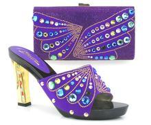 Neue ankunft fashion11cm peep toe talian schuhe mit passenden taschen set neue mode steine blume Afrikanische schuhe und tasche sets