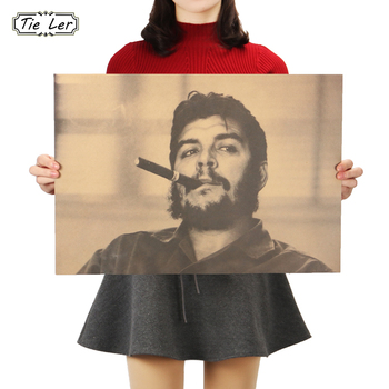 TIE LER Che Guevara and Cigar Poster Great Man Handsome Guy Wall Stickers Kraft Paper Poster B Style 51x36cm image
