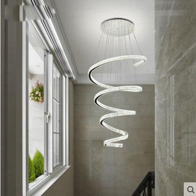 Lungo di cristallo lampadario soggiorno rotazione lampadario scala ...