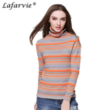 Lafarvie Hot Quality Cashmere Blended Autumn&Winter Sweater Scarf Collar Full Sleeve Stripe Knit Women Pullover 4Colors