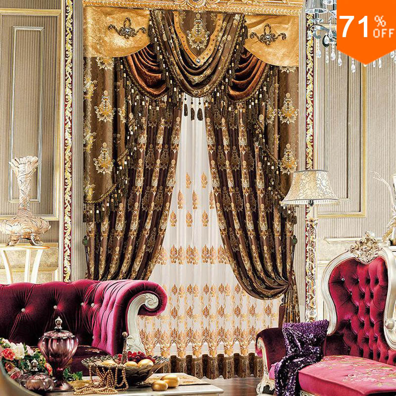 Luxury Coffee Brown Golden Spark Flower Pattern The Classical Curtains  Silky Drapery Extreme Luxury Drapes Finished