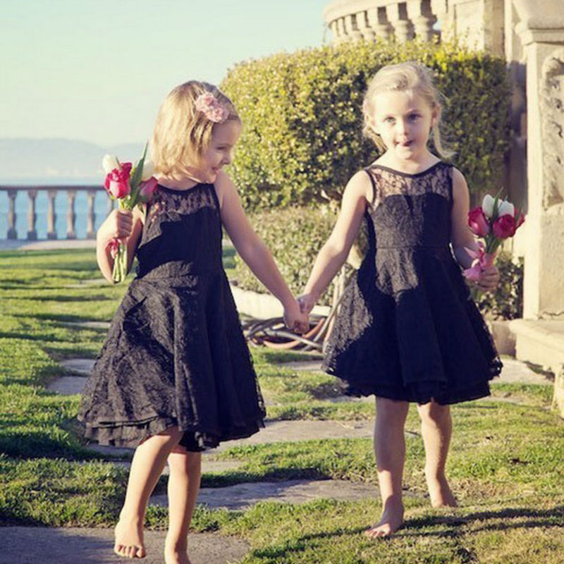 A-Line Flower Girls Dresses For Wedding Lace Party Dress Holy Communion Dresses Baby Sleeveless Mother Daughter Dresses new holy pink flower girls dresses a line lace appliques 2017 wedding girl wear first communion dress vestidos de long sleeves