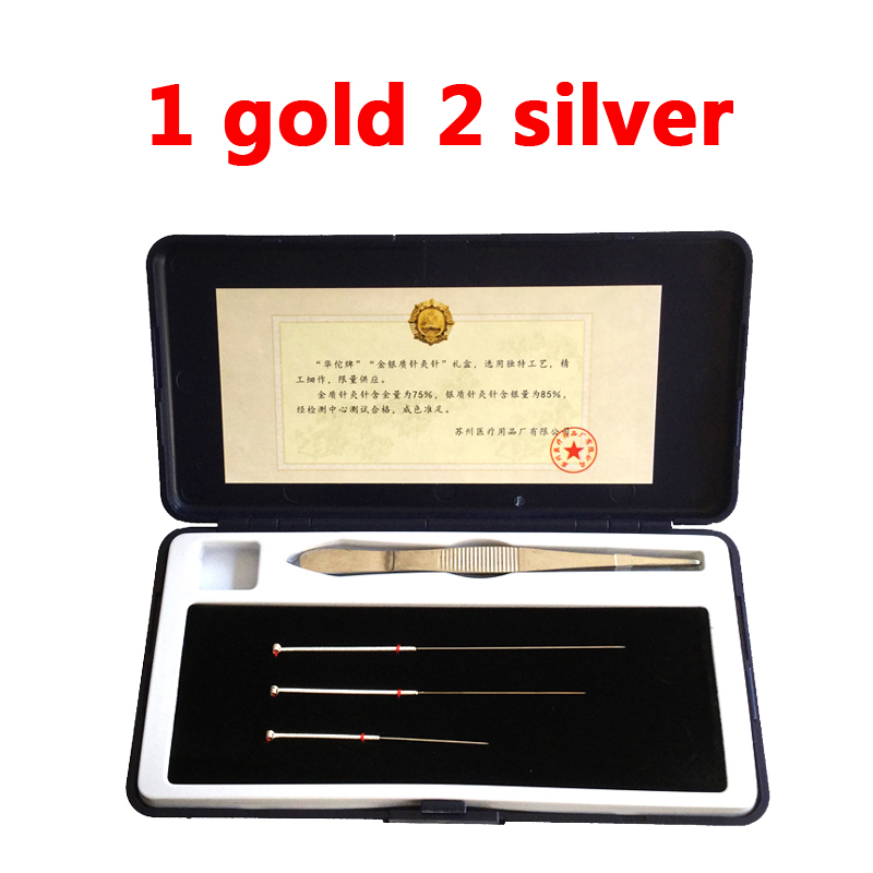 Gold acupuncture needle 1 gold and 2 silver