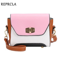 REPRCLA New Fashion Flap Women Bags Patchwork Shoulder Bag PU Leather Crossbody Women Messenger Bags Brand