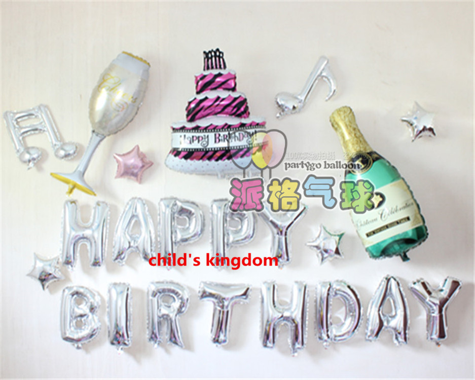 Whlesale 22pcs 16 Inch Sliver Happy Birthday Letters Foil Balloons