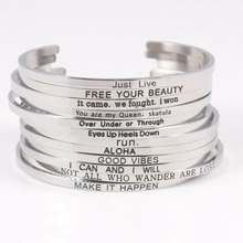 New 316L Stainless Steel Bracelets & Bangles Engraved Positive Inspirational Quote Cuff Bangle Mantra Bracelet for Women
