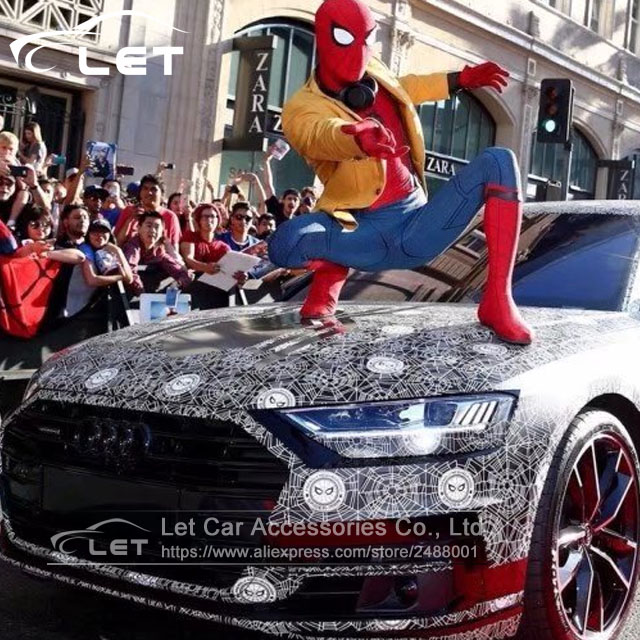 The newest car styling spider man vinyl film camouflage car wrap sticker film motorcycle bike truck vehicle covers wraps in car stickers from automobiles