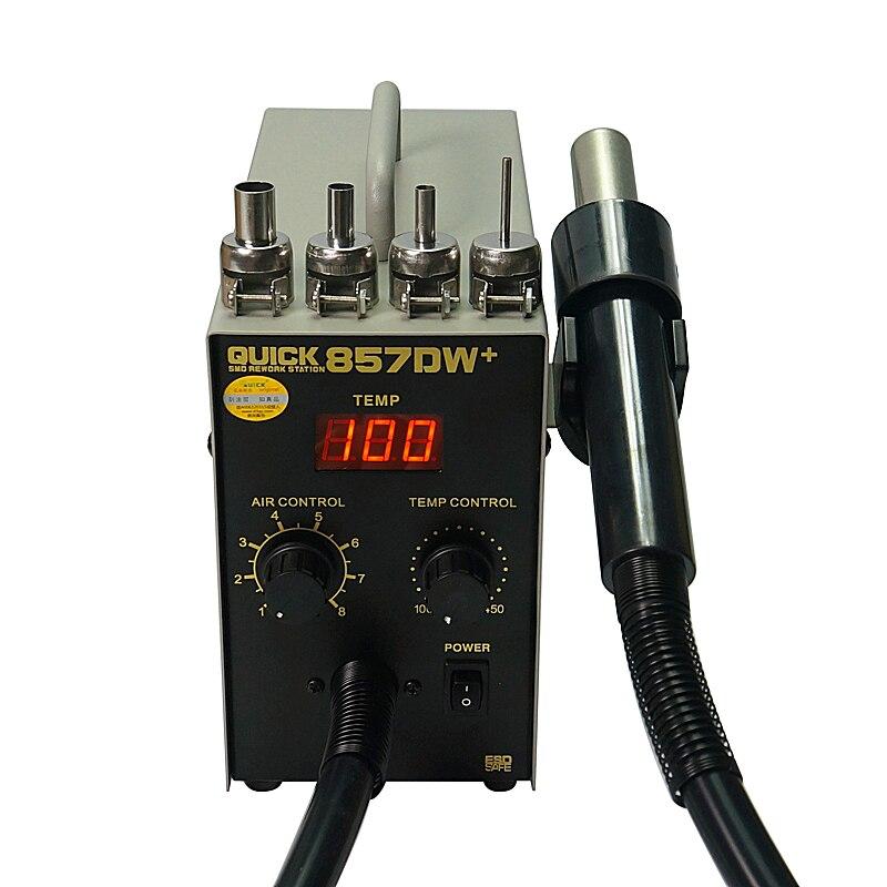 Rapide 857DW + Station de soudage 850 W Station de pistolet à Air chaud réglable avec chauffage hélicoïdal vent Air pistolet SMD fer chaud réparation de soudage