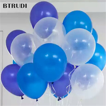 50 pcs/lot 12 inch 2.8g Latex Helium Round balloons Thick Pearl blue light  transparent wedding party decoration
