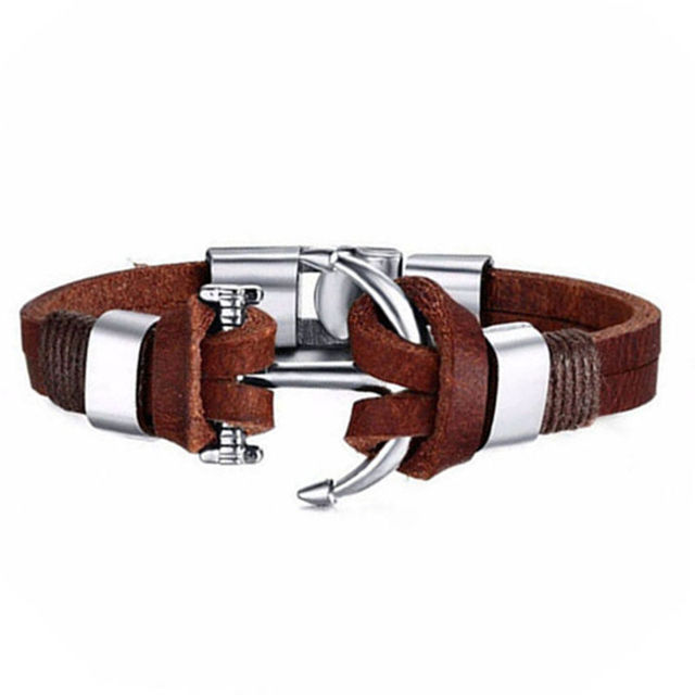 High Quality Alloy Stainless Steel Anchor Leather Bracelet For Men Genuine Jewelry