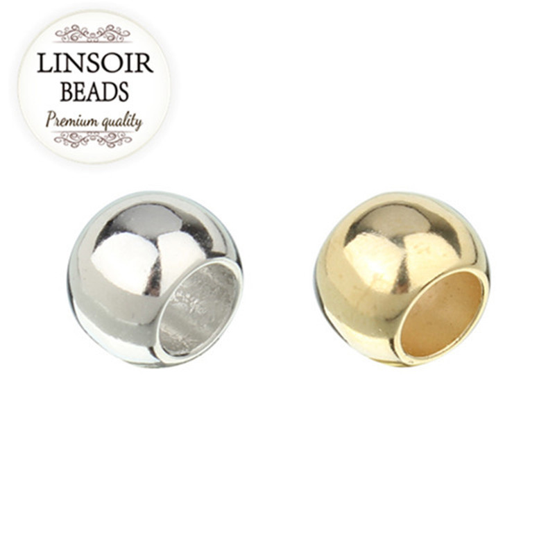 LINSOIR 100pcs/lot 4 6 8 10 12 mm CCB Spacer Beads Gold Color Big Large Hole Beads For DIY Jewelry Making (not metal) F1497A(China)
