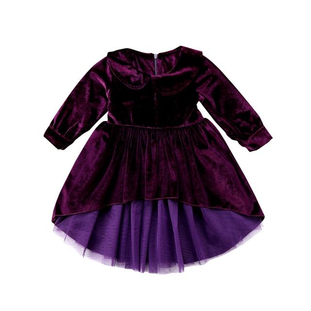 3ba9c500fe Princess Kids Baby Girls Clothes Bowknot Velvet Lace Tulle back long front  short Party Dresses Peter