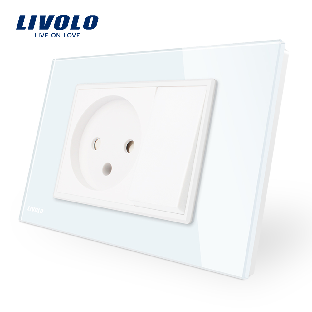 Livolo Israel Power Socket with One Gang Push button switch , White/Black Crystal Glass Panel, AC 110~250V, VL-C9C1IL1K-11/12