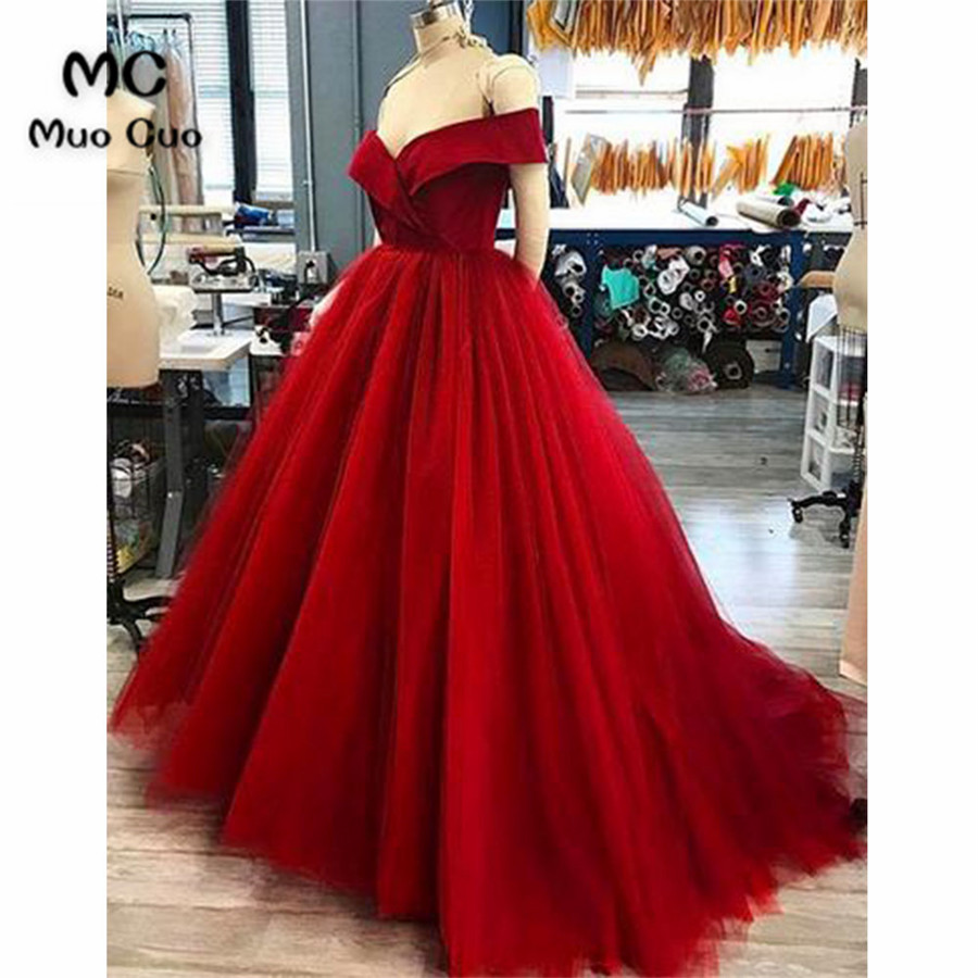 2018 Ball Gown Burgundy   Prom     dresses   Long Draped Tulle Women's   dress   for graduation Tulle Formal Evening   Prom     Dress   for Women