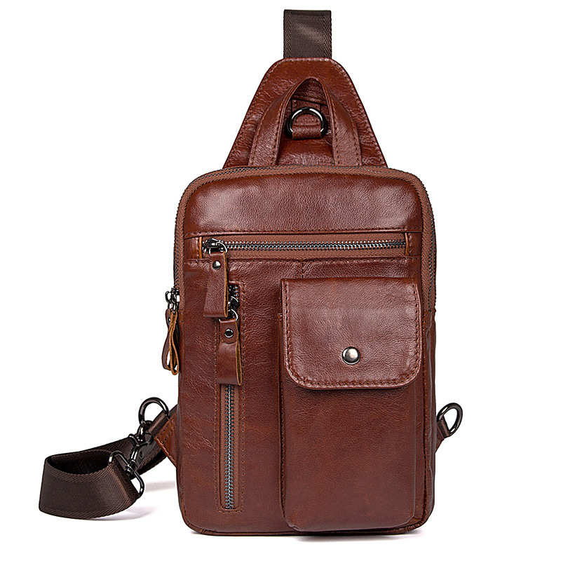 Nesitu High Quality Brown Genuine Leather Men Chest Bags Real Skin Male Bag for mini ipad M4006Nesitu High Quality Brown Genuine Leather Men Chest Bags Real Skin Male Bag for mini ipad M4006