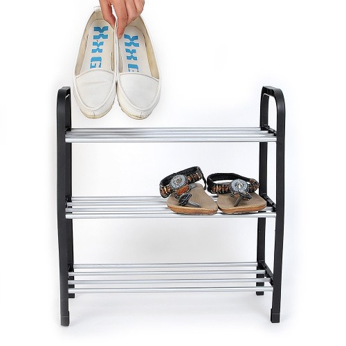 Купить со скидкой New 3 Tier Plastic Shoes Rack Organizer Stand Shelf Holder Unit Black Light