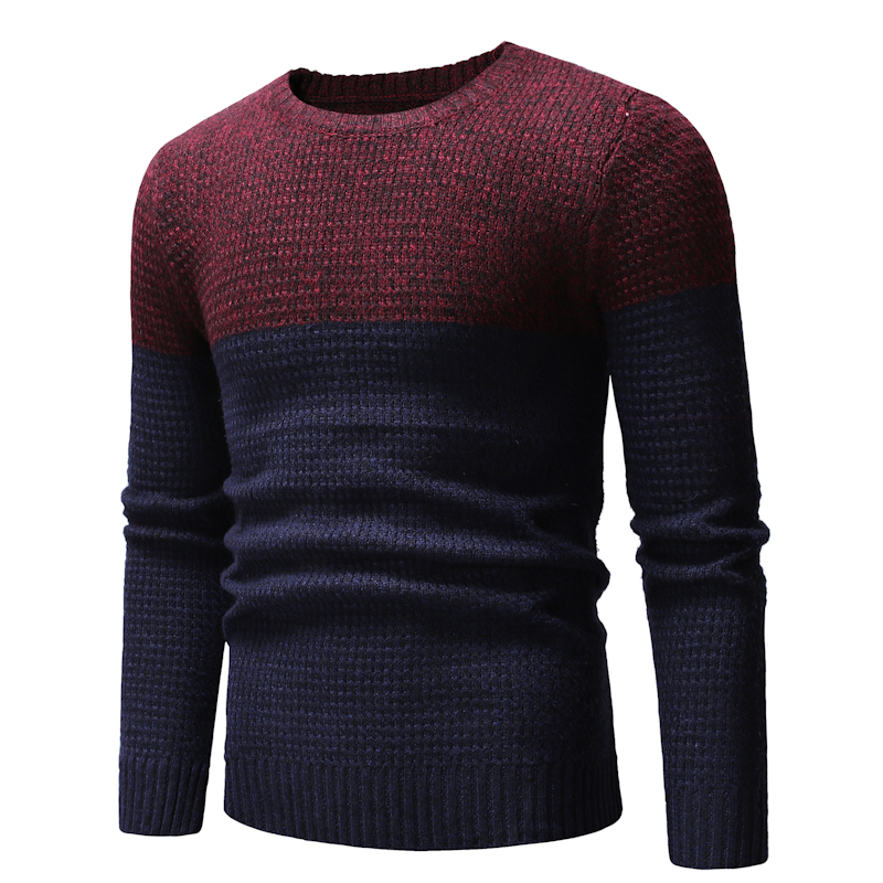 2019 Autumn Winter Patchwork Color Knitwear Men Casual Sueter Masculino Knitted Pull Homme Thicken Warm Chompas Para Hombre MY04