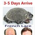 """Бесплатная доставка Высокая Qulity 62 Цвета Французский Lace-8 """"* 10"""" Небольшая Волна Средний Свет Мужская Волосы Кусок Тупею французский Шнурок Подвал"""