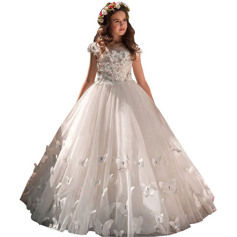 цена на Children Dress Princess Dress Girl Tail Dresses Piano Show Costume Flower Girl Wedding Dress Kids Girls Vestido Wholesale GDR417