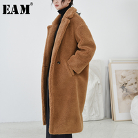 [EAM] 2018 New Autumn Winter Lapel Long Sleeve Brown Loose Long Lambswool Loose Long Woolen Coat Women Parkas Fashion JK723