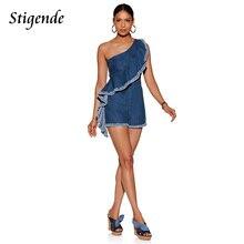 24546975bb Stigende PLUS SIZE Summer Slash Neck Jumpsuit Women Denim Romper Ruffles  Sleeveless Short Jumpsuit Exaggerated Frill