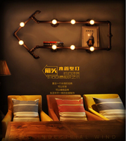 Modern home decoration Loft American Style Bedroom Wall Personalized Water Pipe Lamp Vintage Bookshelf Lights free shipping