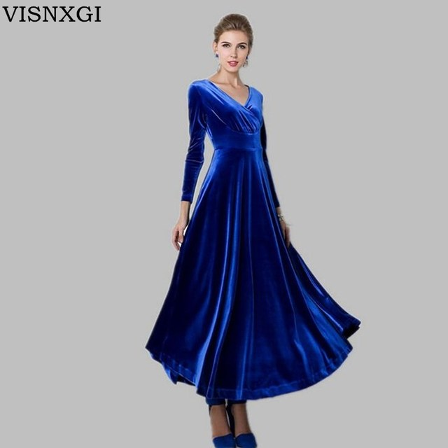 04c4c7d7d32 VISNXGI Women Velvet Maxi Dress Autumn Winter Long Sleeve Ladies Elegant V-Neck  Vintage High