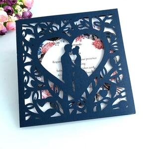 Image 5 - 50 stücke Blau Weiß Gold Rot Hohl Herz Laser Cut Ehe Hochzeit Einladungen Karte Gruß Karte Drucken Postkarte Partei Liefert