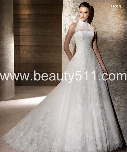 High Neck Halter A line Royal Train White Lace Bridal Wedding Dress ...