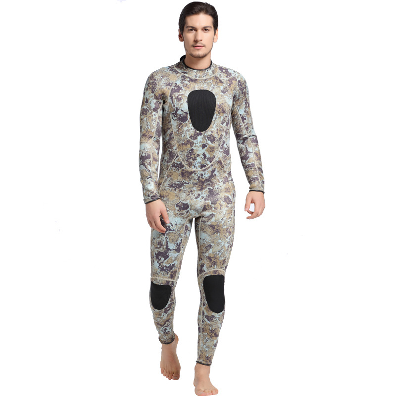 Men Plus Size Diving Wetsuit Keep Warm 5mm Neoprene Two Pieces Full Suit Blind Stitching Jumpsuit Surfing Suit Camouflage Gray free shipping european corridor wall painting background wallpaper hawaii non woven wallpaper mural