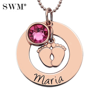 Women Baby Feet Necklace Necklaces Custom Name Birthstone Pendant Rose Gold Colar Customized Letter Chain Jewelry for New Mom