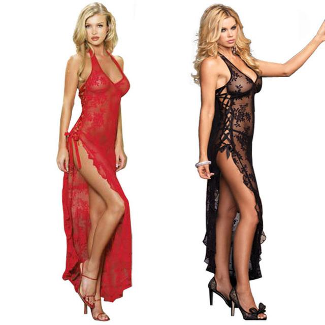 Romantic Black Red Women Sexy Villi Lace Maxi Long Nightdress Erotic Maid Temptation Perspective Nightgown Adytum Slips S-6XL