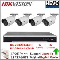 Hikvision Video Surveillance 4CH CCTV Kits 4MP Dome Network IP Camera DS 2CD2143G0 I + NVR DS 7604NI K1/4P 8MP Resolution P2P