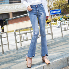 Boot Cut Jeans For Women High Waist Elastic Slim Flare Denim Pants Wide Leg Ankle Length Femme Trousers Female Boyfriend Jeans все цены