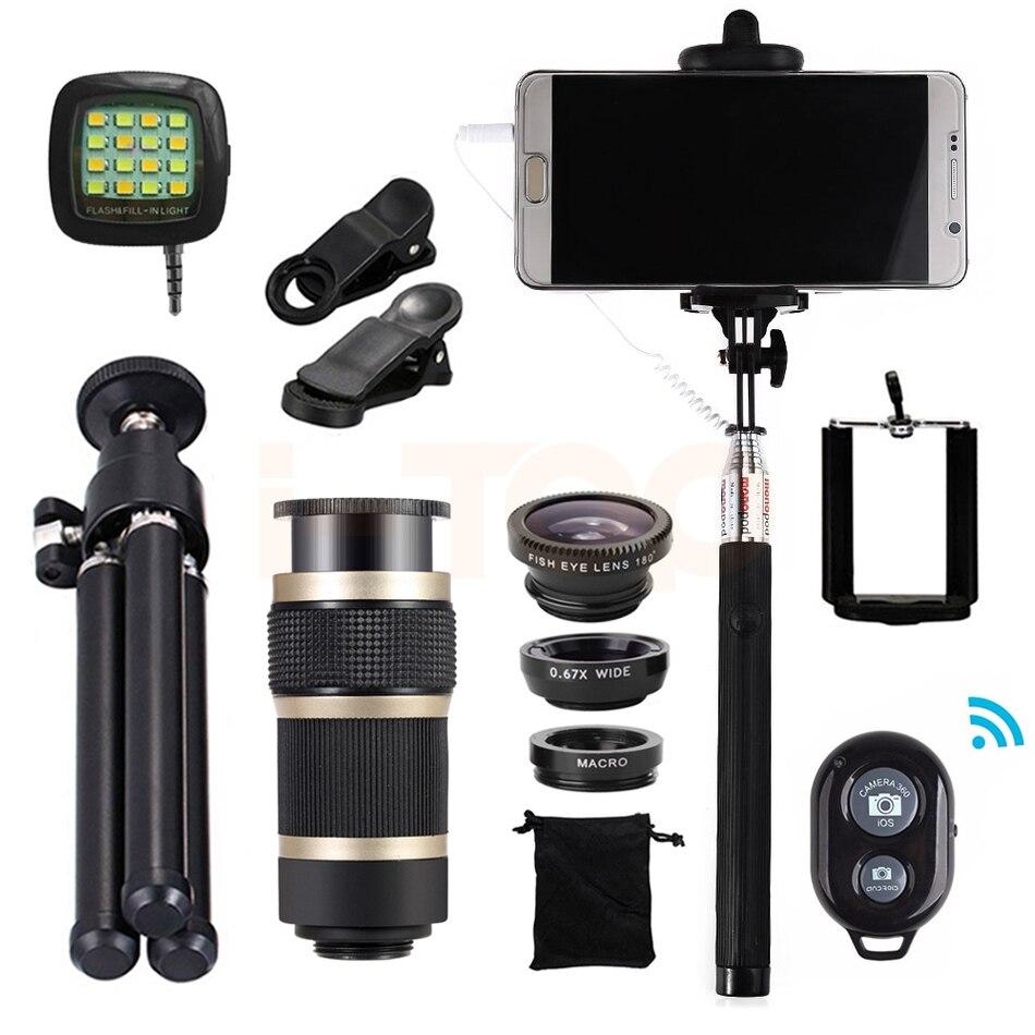 All in 1 Mobile lentes Kit Fisheye Wide Angle Macro Lenses 8x Zoom Telephoto Lens Telescope With Tripod Clips Selfie Flash Light