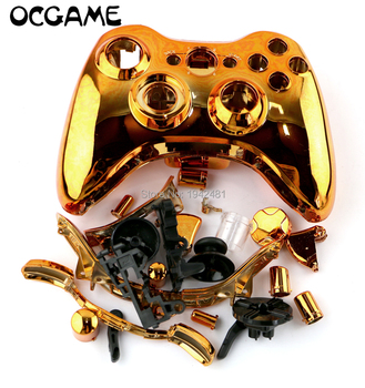 OCGAME 20sets/lot plated Chrome handle case full shell with button for Xbox360 xbox 360 wireless Controller 8 colors by DHL