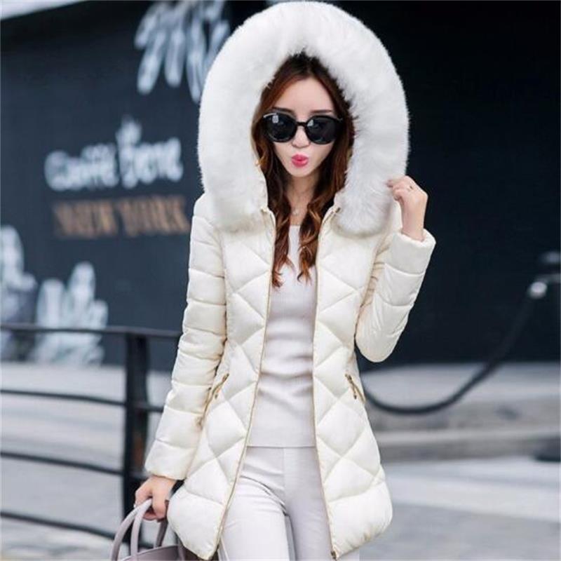 2019 New Faux Fur Winter Jacket Women Hooded Warm Coat New Fashion Cotton Padded Coat Fmale Women Wadded Jacket in Parkas from Women 39 s Clothing