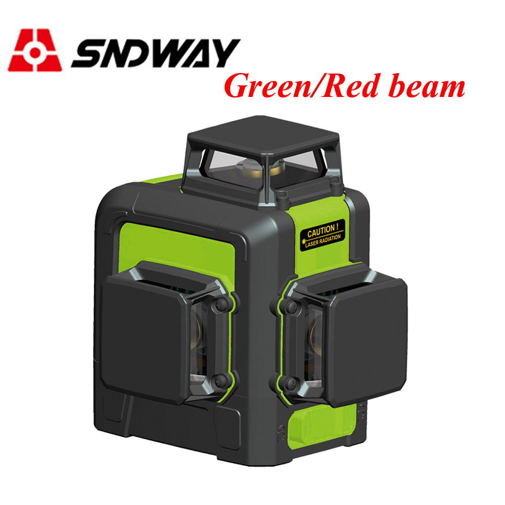 Sndway Green/Red Beam 12 Lines 2/8 Lines Laser Level 360 3d Rotary Self Leveling Laser Lines Tools Vertical Horizontal Leveler