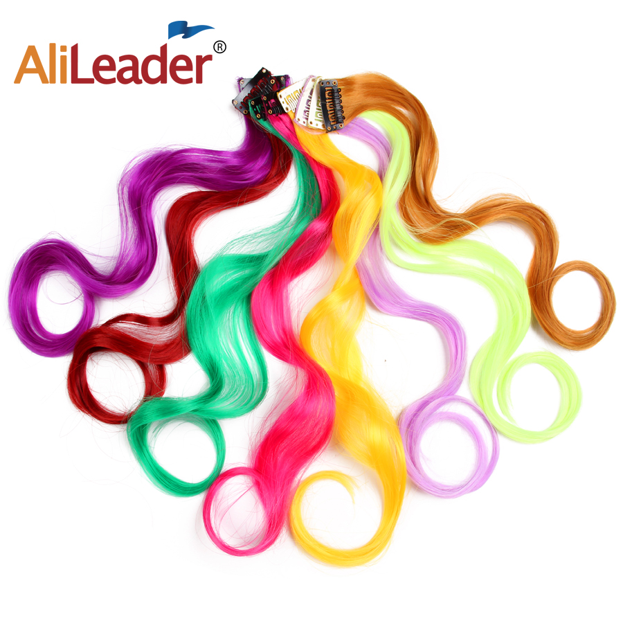 Alileader 18Inch Curly Clip One In Hair Extensions Natural Long Straight Synthetic Hairpieces For Women Girl Pink Blue Colorful