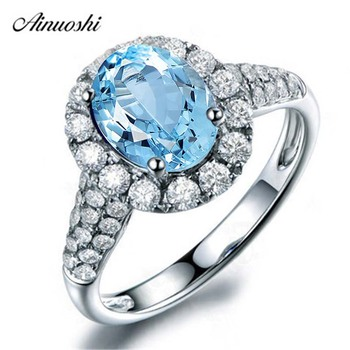 AINUOSHI 2 Carat Oval Cut Halo Ring Pure 925 Sterling Silver Sky Blue Natural Topaz Ring Fashion Woman Wedding Engagement Ring