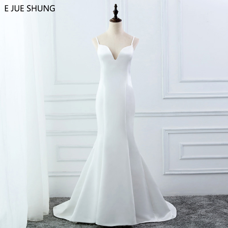 E JUE SHUNG White Simple Summer Mermaid Wedding Dresses V-neck Spaghetti Straps Backless Boho Wedding Gowns Robe De Mariage