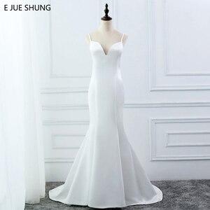 Image 1 - E JUE SHUNG beyaz basit yaz denizkızı gelinlik v yaka spagetti sapanlar Backless Boho gelinlikler robe de mariage