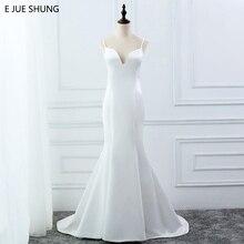 E JUE SHUNG biały prosty lato syrenka suknie ślubne z dekoltem w kształcie litery v paski spaghetti Backless boho weselny suknie robe de mariage