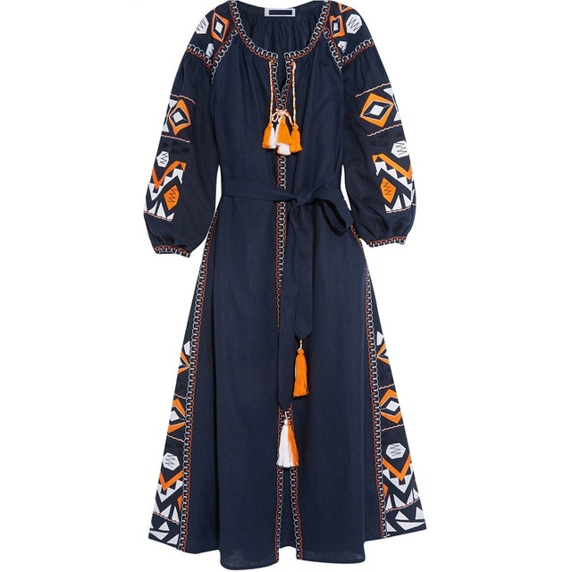 17f9ca0ea95 ethnic embroidered embroidery dress patterns designs women vintage long  sleeve dresses tassel plus size boho flares