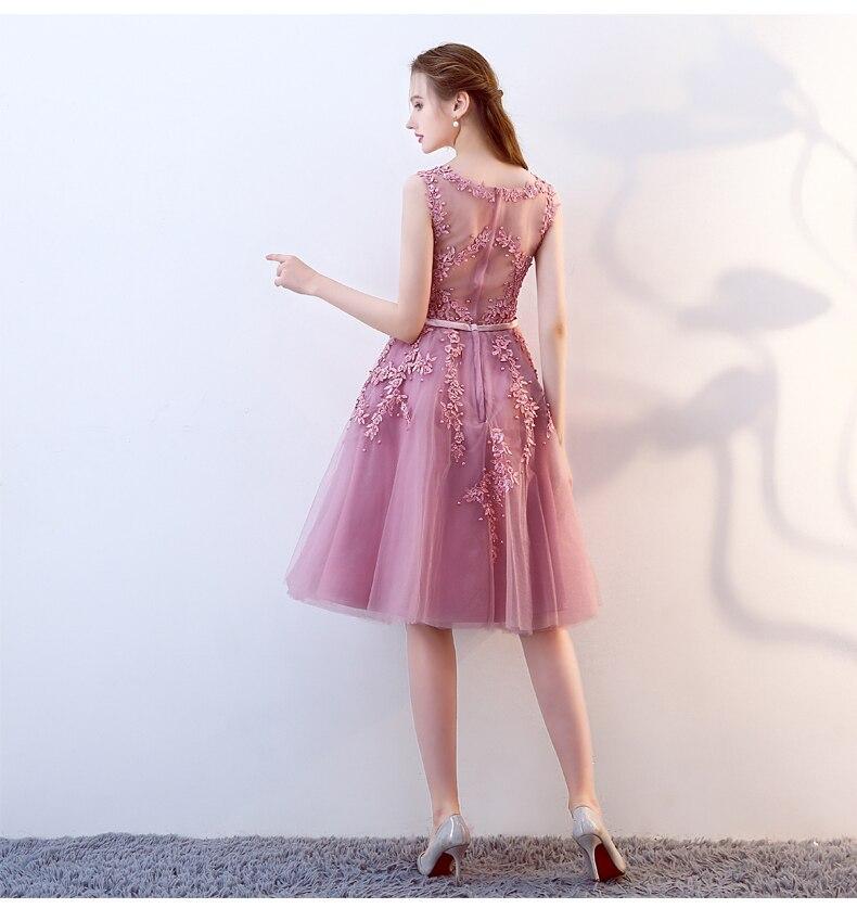 2016 Stof Roze Kralen Kant Applicaties Korte Prom Dresses Robe De - Jurken voor bijzondere gelegenheden - Foto 2