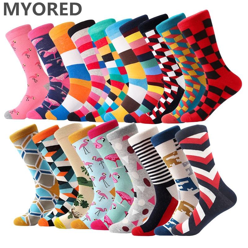 MYORED 1 pair men socks color combed cotton mens socks dress business casual novelty cartoon crew socks Calcetines de hombre