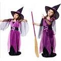 2016 Nuevos Trajes de Halloween Bruja Vestido Para La Muchacha Con El Sombrero Del Casquillo Del Partido de Cosplay Del Vestido Ropa de Niños Niña de Dibujos Animados Vestido Del Funcionamiento