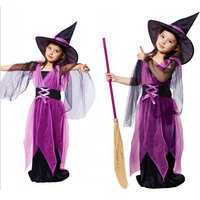 2016 New Halloween Costumes Witch Dress For Girl With Hat Cap Party Cosplay Dress Clothing Kids