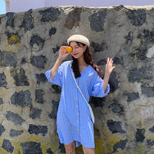 Milinsus Women Plaid Dress Lantern Sleeve Female 2019 Summer New Korean Xuan Ya Style Loose Casual Medium Length Shirt Dresses